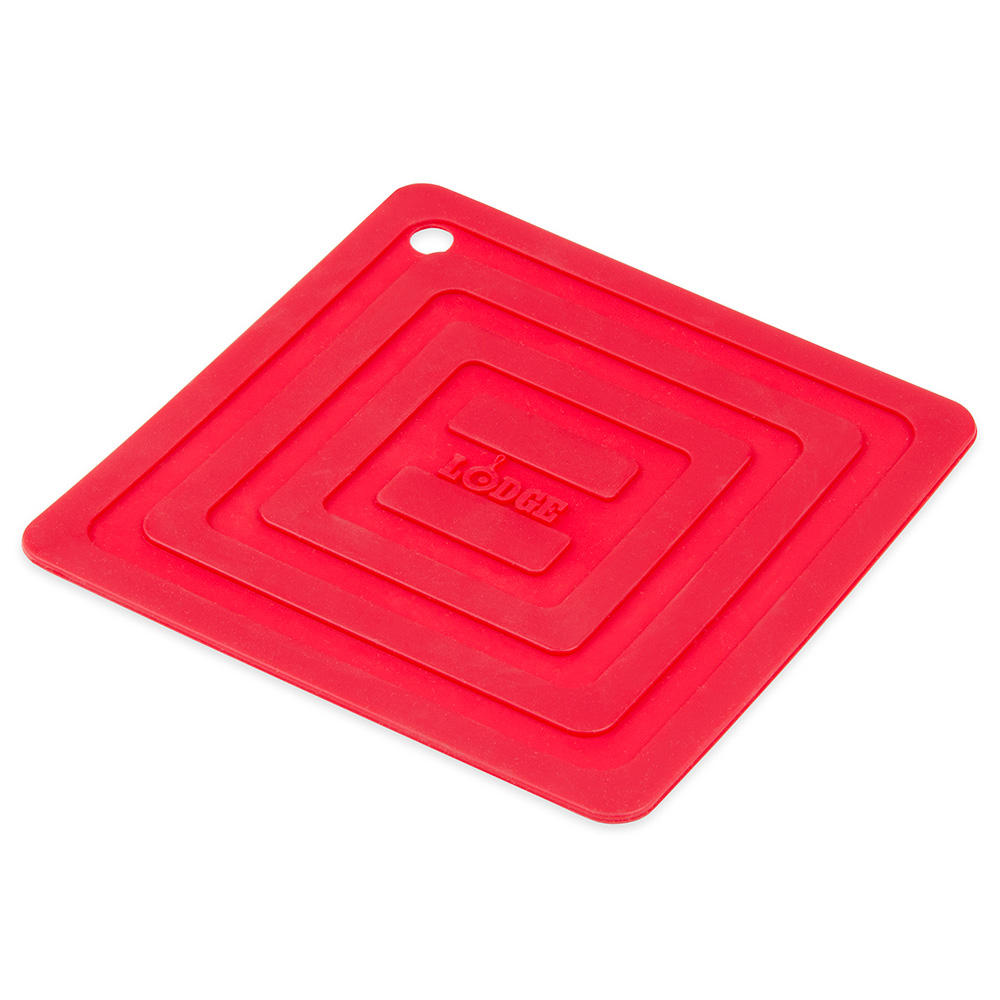 "Lodge AS6S41 Square Silicone Potholder, Heat Resistant to 250°F, 5.87x5.87"", Red"