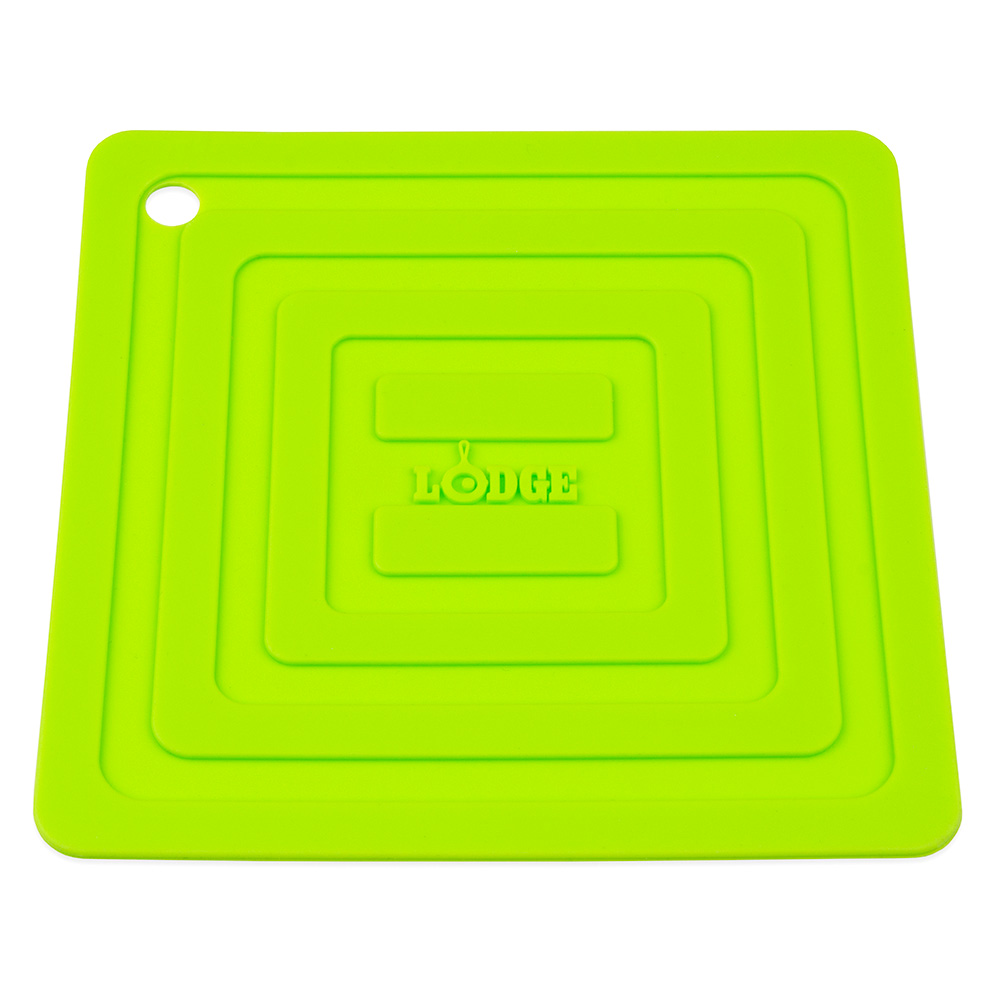 "Lodge AS6S51 Square Silicone Potholder, Heat Resistant to 250°F, 5.87x5.87"", Green"