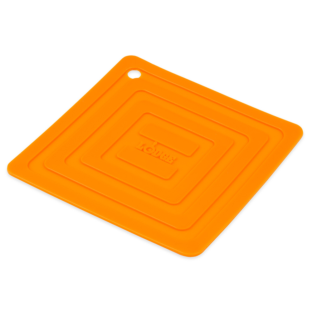 "Lodge AS6S61 Square Silicone Potholder, Heat Resistant to 250°F, 5.87x5.87"", Orange"
