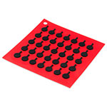"Lodge AS7S41 Silicone Square Trivet w/ Black Logo Skillets, 7x7"", Red"