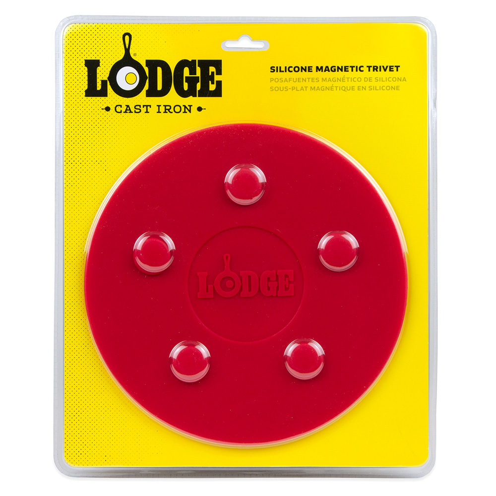 """Lodge ASLMT41 8"""" Round Magnetic Trivet - Silicone, Red"""
