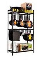 Lodge BMFT3 3-ft Merchandiser Fixture w/ Adjustable Bars & Hanging Hooks, Metal, Black