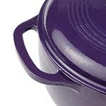 "Lodge EC6D93 10.75"" Round Cast Iron Dutch Oven w/ 6-qt Capacity & Lid, Handle, Purple"