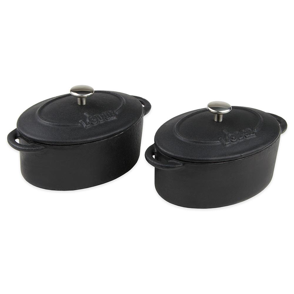 Lodge ECMCO11 10-oz Mini Oval Cast Iron Cocotte w/ Lid, Matte Black