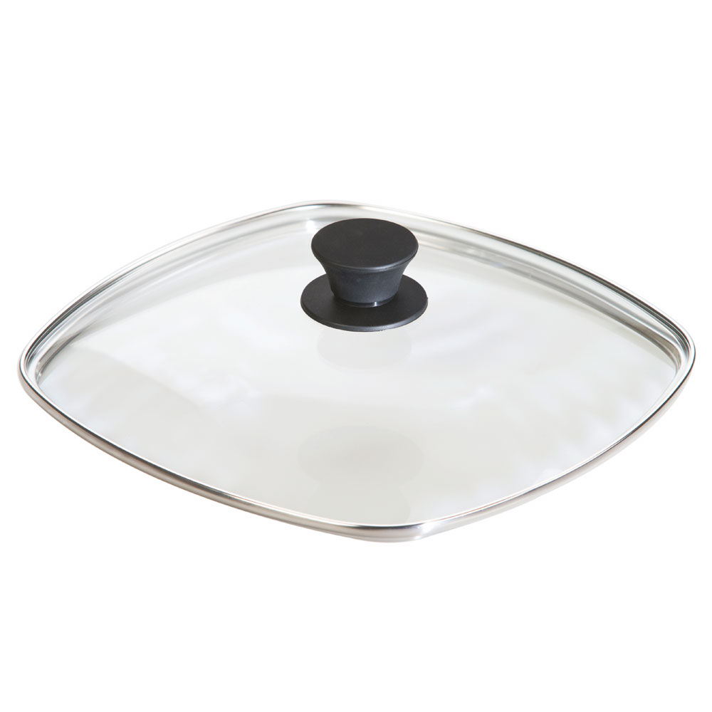 "Lodge GLSQ10 10.5"" Square Lid w/ Tempered Glass & Phenolic Knob"