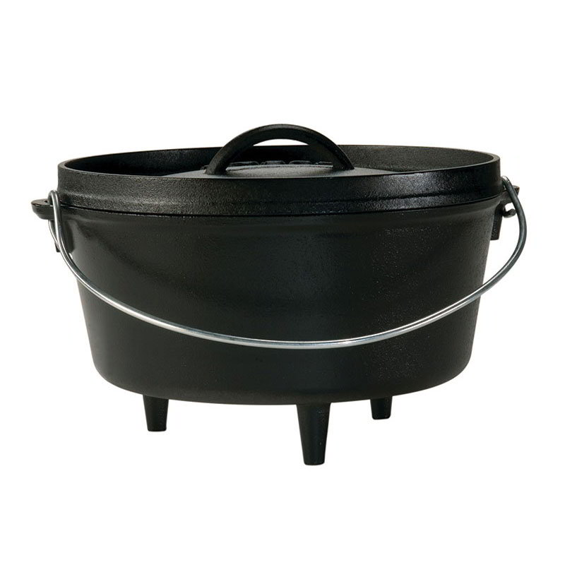 Lodge L10DCO3 10-in Round Cast Iron Dutch Oven w/ 5-qt Capacity & 3-Legs, Bail Wire