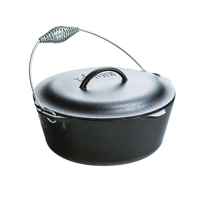 Lodge L10DO3 7-qt Cast Iron Seasoned Dutch Oven w/ Spiral Handle & Cover