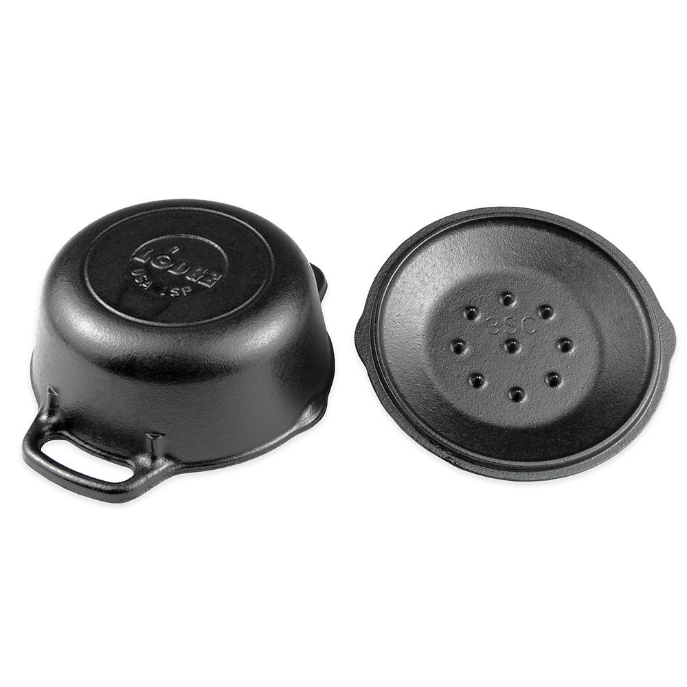 "Lodge L1SP3 6.75"" Round Cast Iron Seasoned Serving Pot w/ 1-qt Capacity & Cover"