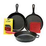Lodge L6SPA41 6-Piece Seasoned Cast Iron Cookware Set w/ Pans & Accessories