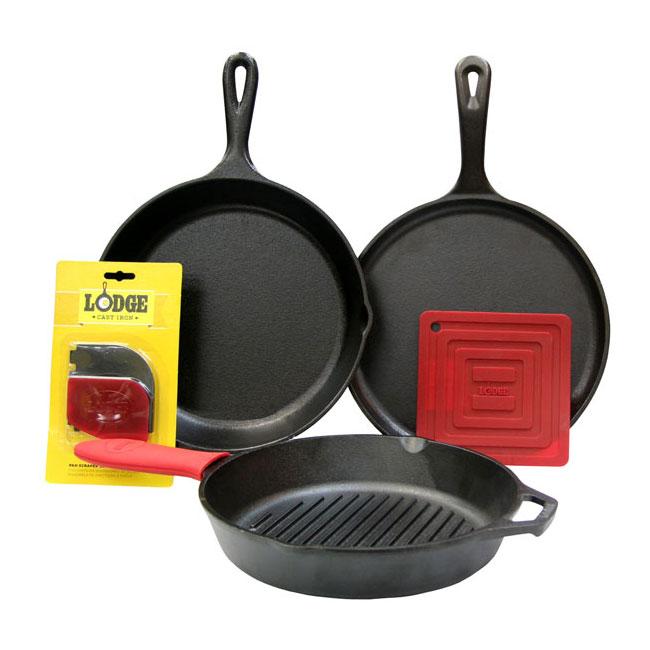 Lodge L6SPA41 6-Piece Seasoned Cast Iron Cookware Set w/ Pans & Accessories
