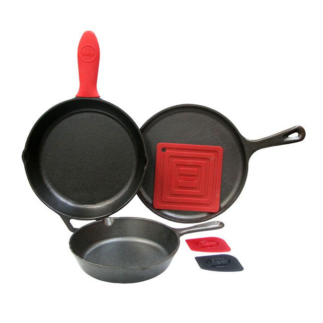 Lodge L6SPB41 6-Piece Seasoned Cast Iron Cookware Set w/ ...