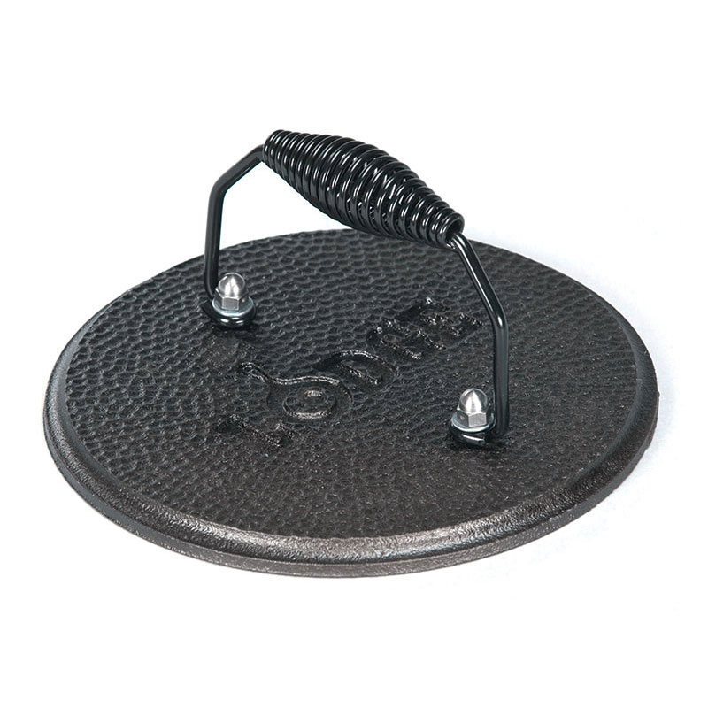 "Lodge LGPR3 7.5"" Round Cast Iron Grill Press w/ Cool Grip Spiral Handle & Hammered Finish"