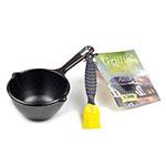 Lodge LMPK Cast Iron Seasoned Melting Pot Kit w/ Brush & Recipe Book