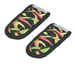 Lodge 2HHMC2 Hot Handle Mitt Set w/ Multi-Color Pepper Print on Black