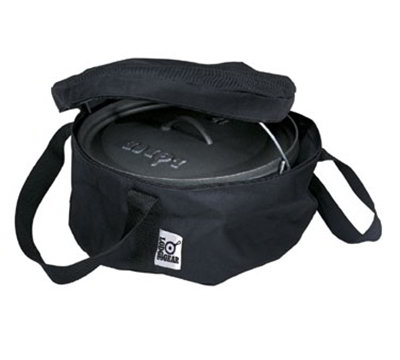 Lodge A1-8 8-in Camp Dutch Oven Tote Bag w/ Double-Padded Bottom, Black Polyester