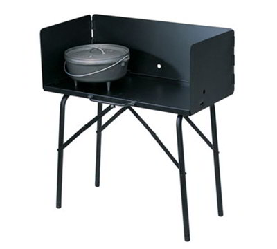 Lodge A5-7 Camp Cooking Table w/ 3-Sided 12-in Attachable Windscreen, Black