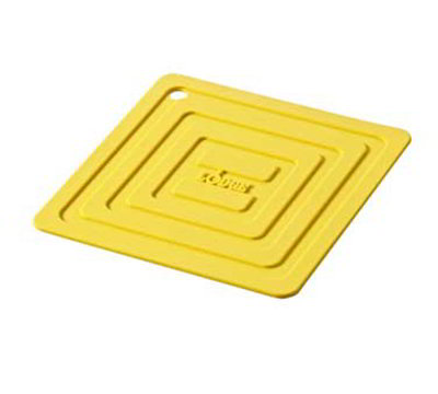 "Lodge AS6S21 Square Silicone Potholder, Heat Resistant to 250°F, 5.87x5.87"", Yellow"