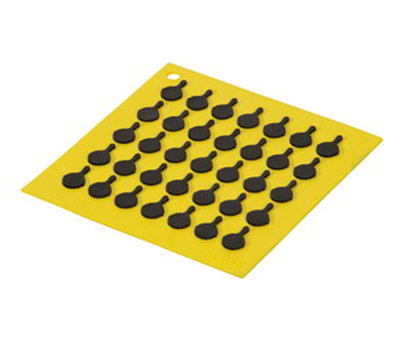 Lodge AS7S21 Silicone Square Trivet w/ Black Logo Skillets, 7 x 7-in, Yellow