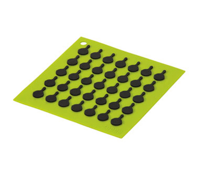 Lodge AS7S51 Silicone Square Trivet w/ Black Logo Skillets, 7 x 7-in, Green