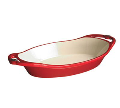 Lodge E2OC40 2-qt L Series Oval Casserole, Cast Iron, Enamel, Patriot Red