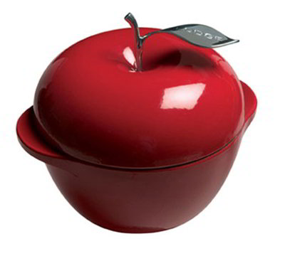 Lodge E3AP40 3.5-qt L Series Apple Pot, Cast Iron, Enamel, Patriot Red