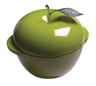 Lodge E3AP50 3-qt L Series Apple Pot, Cast Iron, Enamel, Apple Green