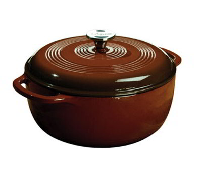Lodge EC6D83 6-qt Cast Iron Dutch Oven, Enamel, Cafe