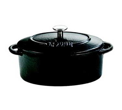 Lodge ECMCO11 10-oz Mini Oval Cast Iron Cocotte w/ Lid, Matte Black