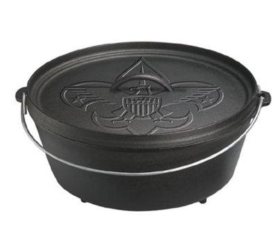 """Lodge L12CO3BS 12"""" Round Cast Iron Dutch Oven w/ 6-qt Capacity & 3-Legs, Boy Scout Logo"""