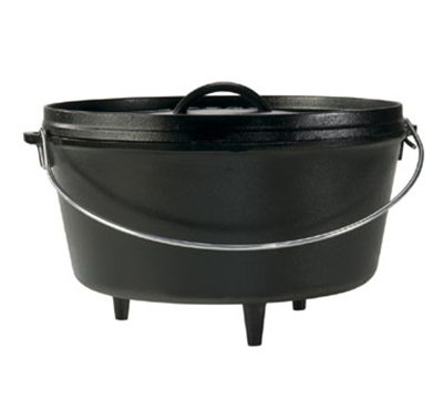 "Lodge L12DCO3 12"" Round Cast Iron Dutch Oven w/ 8-qt Capacity & 3-Legs, Bail Wire"