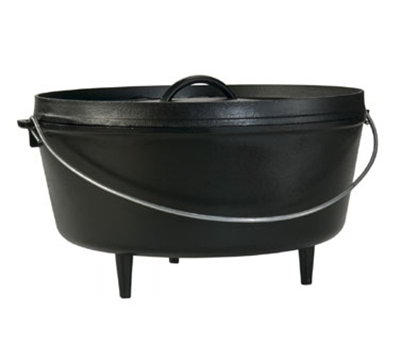 "Lodge L14DCO3 14"" Round Cast Iron Dutch Oven - Holds 10-qt, 3-Legs, Bail Wire"