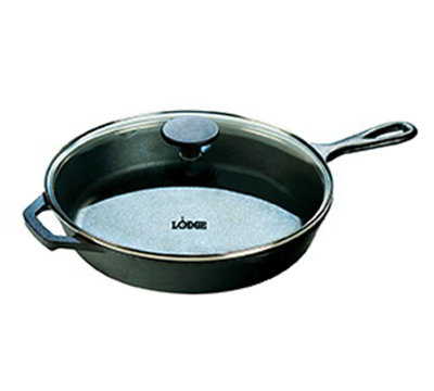 Lodge L10SKG3 12-in Round Cast Iron Seasoned Skillet w/ Tempered Glass Cover & Phenolic Knob