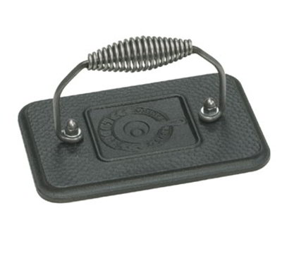 Lodge LGP3 Rectangular Cast Iron Grill Press w/ Cool Grip Spiral Handle & Hammered Finish