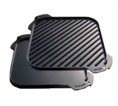 "Lodge LSRG3 10.5"" Square Cast Iron Seasoned Griddle w/ Single Burner, Reversible"