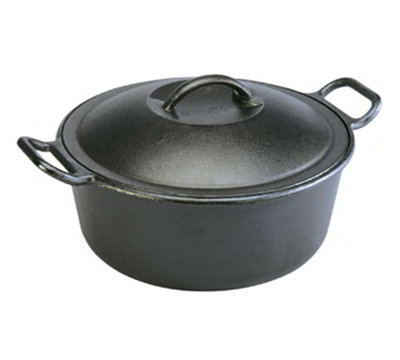 Lodge P12D3 12-in Round Cast Iron Seasoned Dutch Oven w/ 7-qt Capacity & Rolled Edges