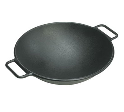 "Lodge P14W3 14"" Round Cast Iron Seasoned Wok w/ Rolled Edges & Loop Handles"