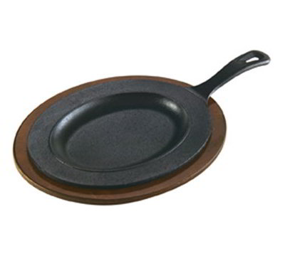 Lodge LOSR3 Oval Cast Iron Serving Griddle, 10x7""