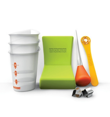 ZOKU ZK103 Quick Pop Tool Kit w/ Heart, Star & Fruit Stencils, Siphon, Angle Tray