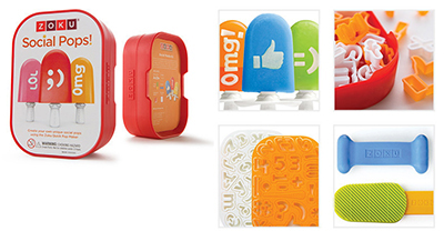 ZOKU ZK112 Social Media Kit for Zoku Quick Pops w/ 49-Stencils & 1-Pusher, Face Plate, Stand