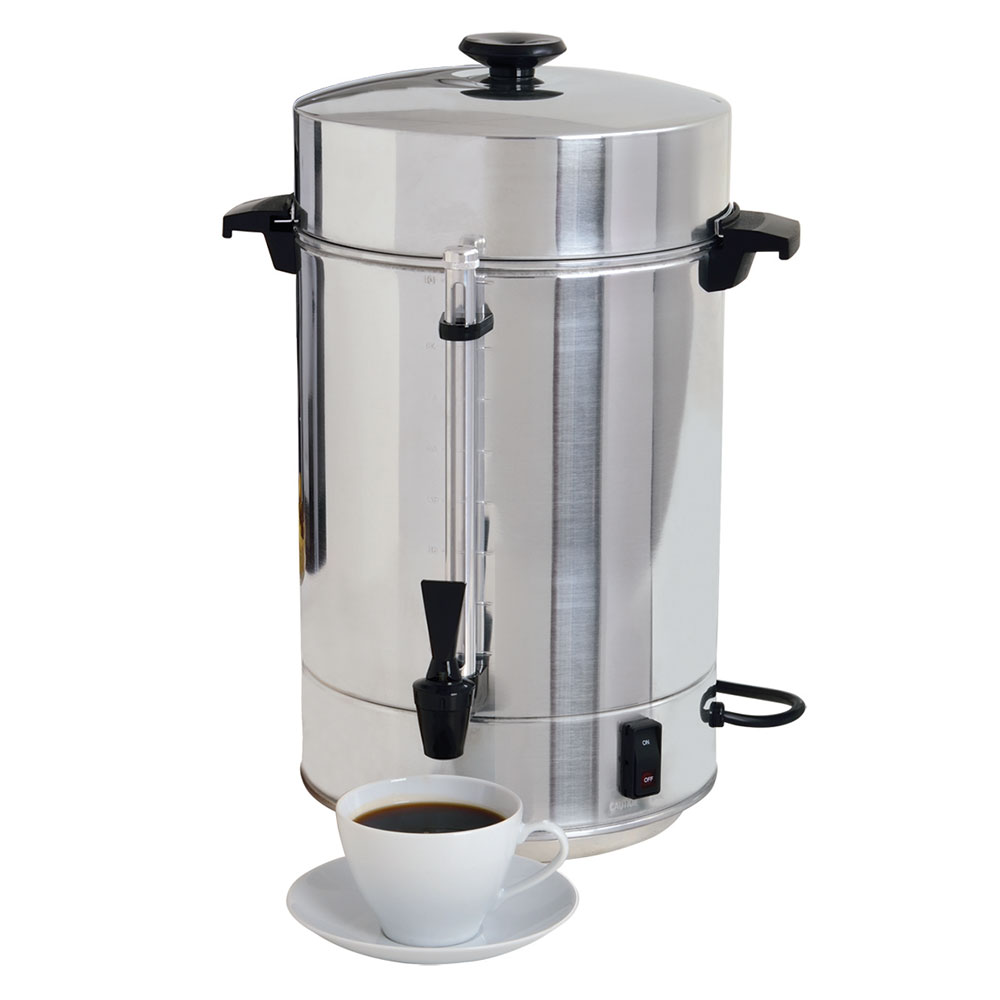 Focus 58001R Regalware 101 Cup Commercial Aluminum Coffeepot, Polished Exterior