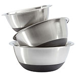 Focus 875SBK Mixing Bowl Set, 3 Piece, Stainless Steel, Non-Skid