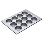 "Focus 903645 Muffin Pan Holds (12) 3-1/4"" Large Muffins, Glazed Aluminum"
