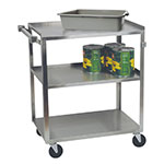 Focus 90422 3-Level Stainless Utility Cart w/ 500-lb Capacity, Raised Ledges
