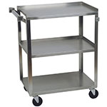 Focus 90444 3-Level Stainless Utility Cart w/ 500-lb Capacity, Raised Ledges