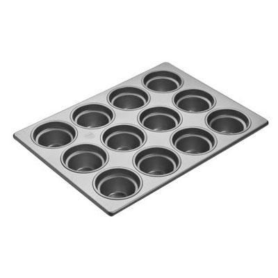 "Focus 905435 Large Crown Muffin Pan Holds (15) 4-1/8"" Muffins, Glazed Aluminum"