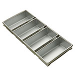 Focus 905642 Four Pan Strapped Bread Pan, Aluminized Steel w/ Silicone Glaze
