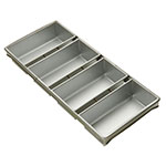 Focus 909415 Four Pan Strapped Bread Pan Set, Aluminized Steel, 10 x 5 x 3 in