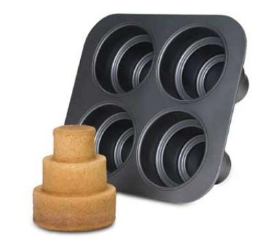 Focus 926633 Mini Cake Pan w/ 4-Triple Tier Cakes, Non-Stick