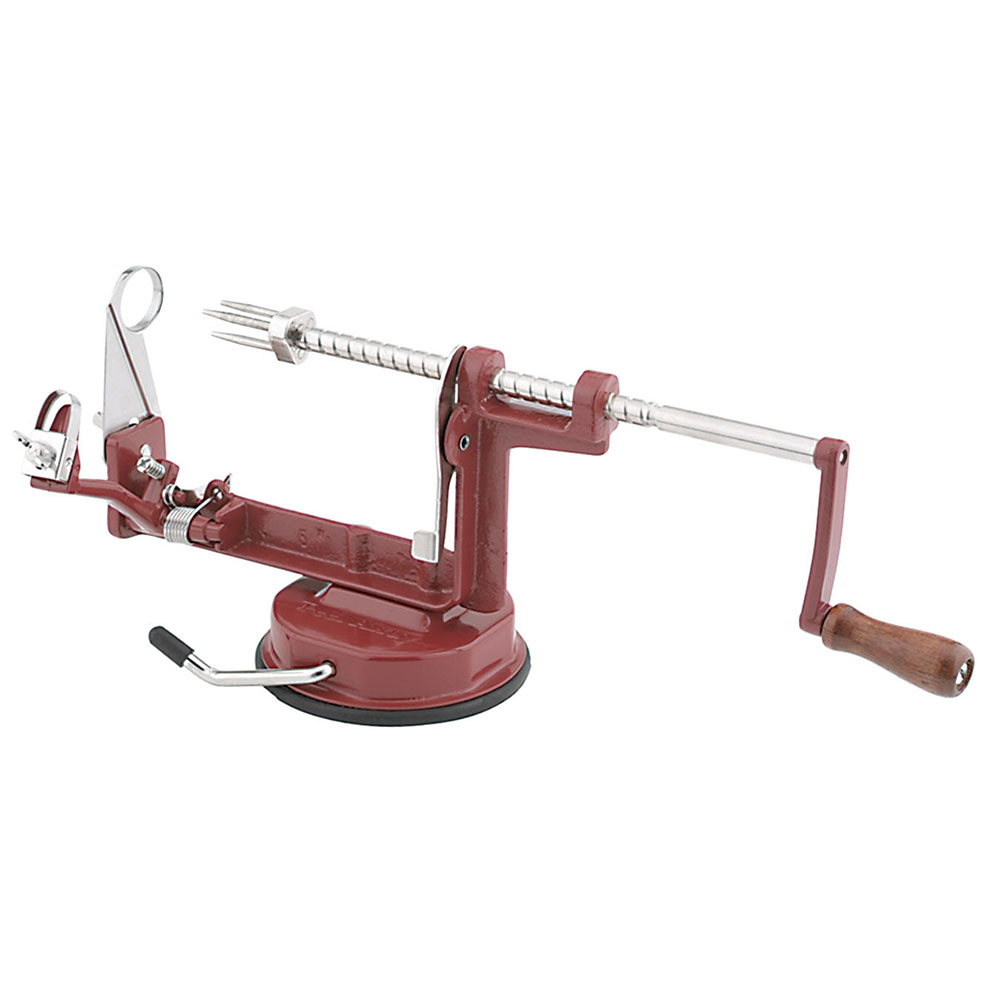 Focus A505 Countertop Apple Peeler w/ Suction Cup, Cast-Iron, Red