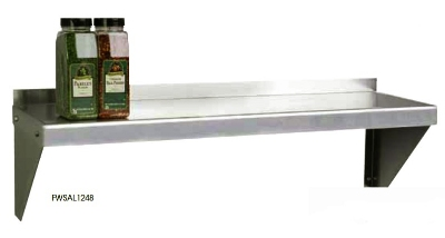 "Focus FWSAL1224 24"" Wall Shelving Kit w/2-Brackets & 1-Shelf, Aluminum"
